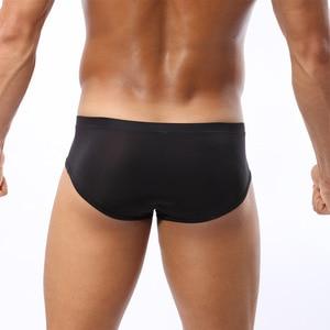 Image 4 - Cockcon Male panties  trigonometric translucent men Briefs ice silk u convex low waist pouch underwear