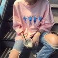 2016 Estilo Coreano Halajuku Carta Impresa Ocasional Floja Camiseta Femenina
