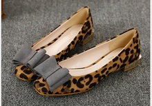 Women's Leopard casual shoes Genuine Leather Square Head  Flat Shoes Spring/Autumn Bow Ballet Flats