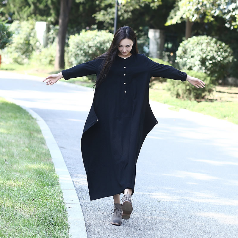 Black Long sleeve Linen Cotton Women long Dress Novelty design Plus size Autumn Winter Dress Mori girl Rope Gown Dress B007
