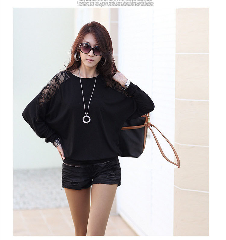HTB1OSMfNXXXXXcuXXXXq6xXFXXXV - Casual Lace Blouse Batwing Sleeve Shirt Women Cotton Clothing