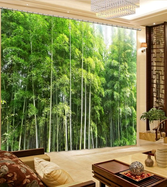 3d Curtains Modern Luxury Fantasy Green Bamboo Forest 3D Blackout Window For Bedroom Living