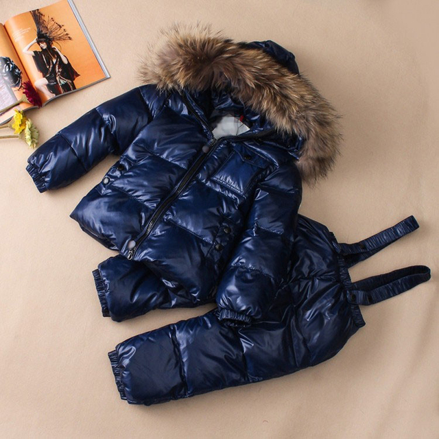Winter Children Turtleneck Down Coats Kids Snow Wear Baby Outerwear Natural Fur Detachable Hood Removable Hat