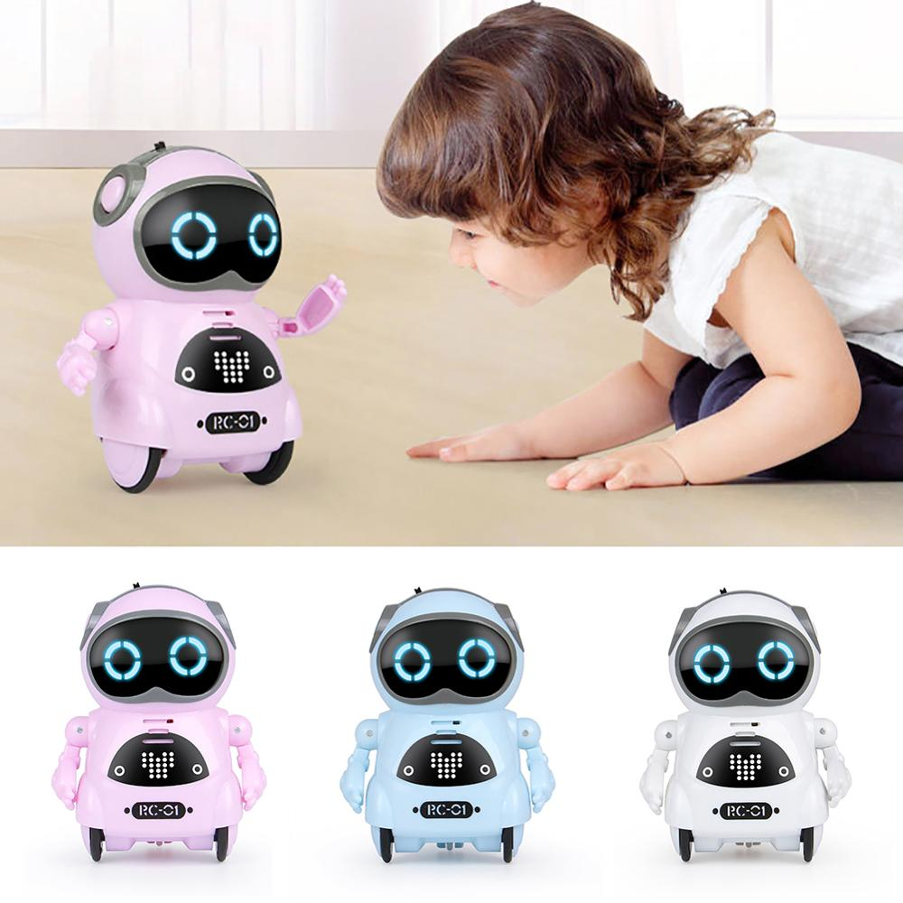 Mini Pocket Robot Voice Control Chat Record Sing Dance Interactive Kids Toy Telling Story Talking Interactive Mini RC Robot Toy