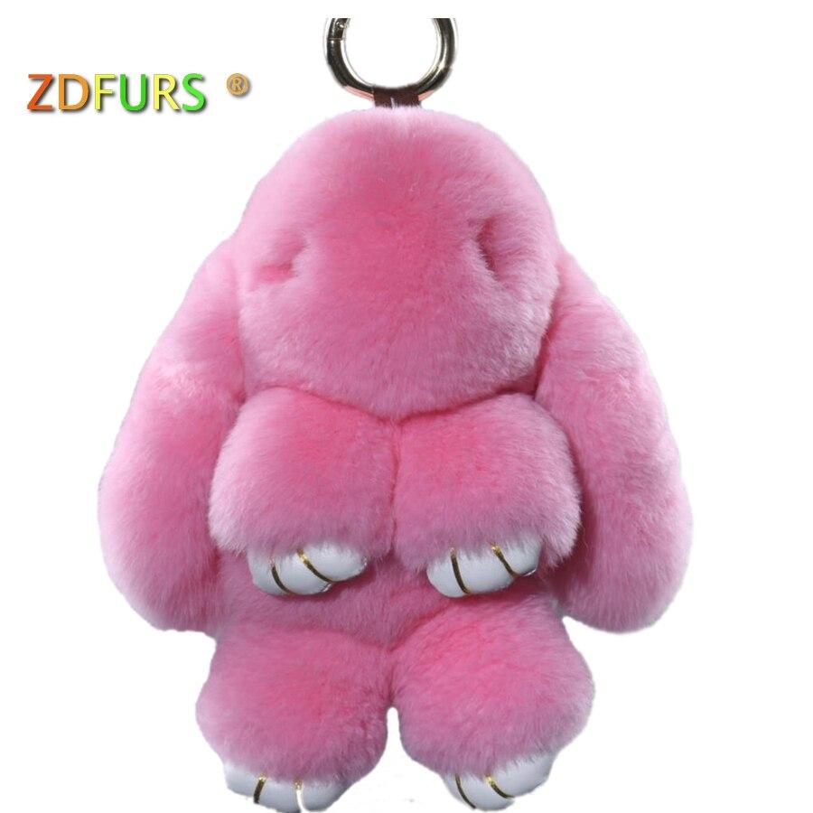 купить Real Genuine Rex rabbit Furs Keychain Pendant Bag Car Charm Tag Cute Mini Rabbit Toy Doll Real Fur Monster Keychains 18cm по цене 600.4 рублей