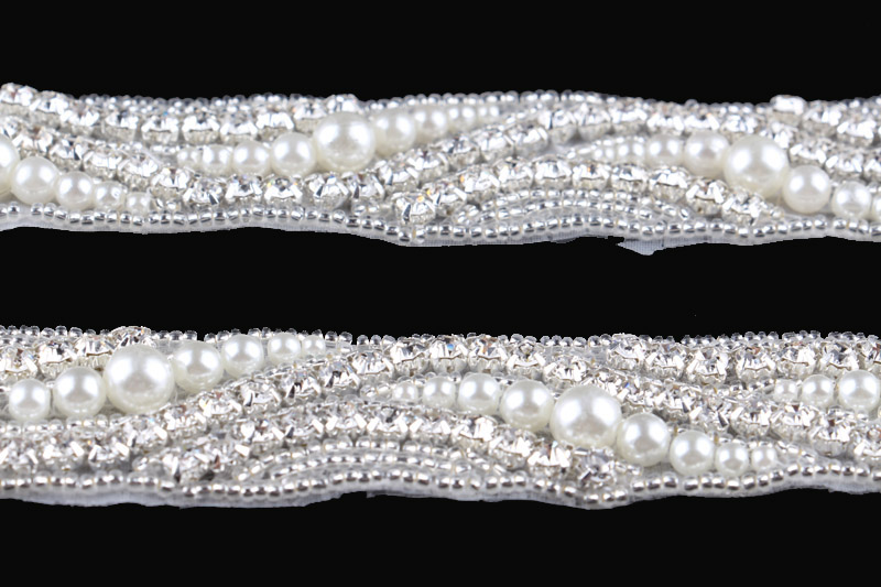 10Yard New Design Sewing Diamond Rhinestone Applique Trim Hot Fix Beaded  Pearl Crystal Trimming For Girl Wedding Belt Dress-in Rhinestones from Home  ... 1bdff93b3f3a