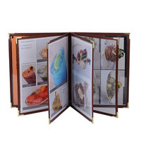 Brown PU Leather Restaurant Menu Folders Restaurant Food List Menu Covers Coffee Menu Holders OEM Order