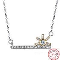 2017 simple 925 Sterling Silver key diseño del girasol colgante, collar cristalino de Austria encanto creativo del regalo del partido N105