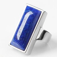 Natural lapis lazuli ring female men's collection favorite dream blue S925 silver inlaid jewelry gift