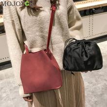 2pcs set Women Bucket Bag Scrub PU Leather Shoulder Bags Fashion Crossbody Bags for Women Composite