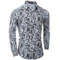 Мода Персонализированные Камуфляж Печать Мужские Рубашки с Длинным рукавом Slim Fit Повседневная Социальная Camisas Masculinas Человек Сорочка homme