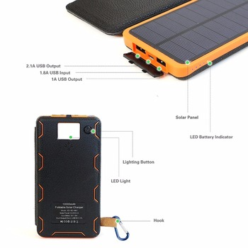 Phone Charger 10000mAh Solar Phone Charger Power Bank Dual USB for iPhone 4s 5 5s SE 6 6s 7 7plus iPad Samsung s7 s8 HTC LG Sony 2