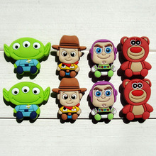 80pcs Toy Story Cartoon PVC Shoe Buckles Shoe Charms Fit Croc For Shoes&wristbands with Holes Furniture Accessories Kids Gifts