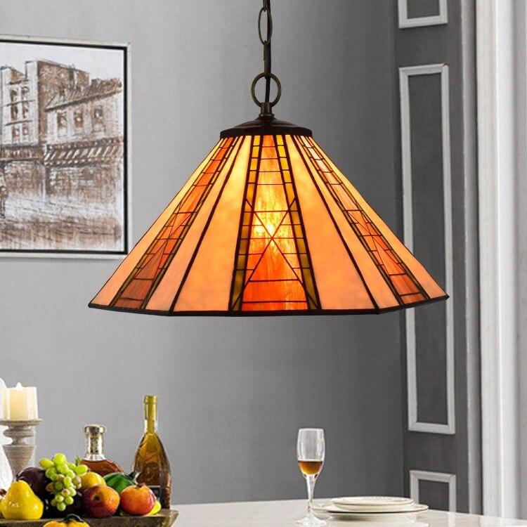 Işıklar ve Aydınlatma'ten Kolye ışıkları'de 16 inç Tiffany barok vitray asma armatür E27 110 240v zincir kolye ışıkları için ev salonu yemek yatak odası title=
