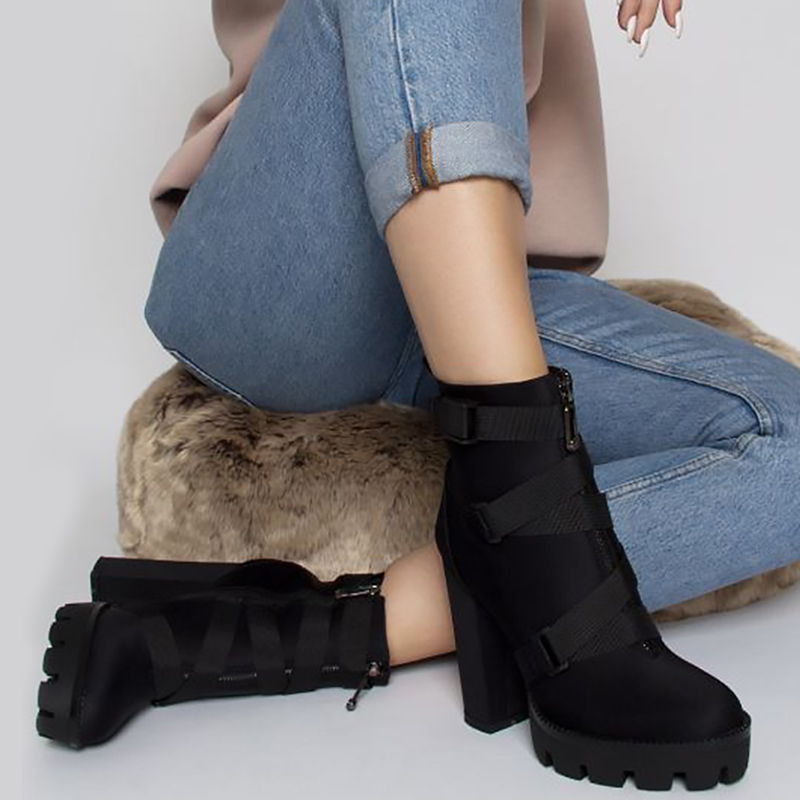 Image 2 - Perixir High Heel 4 CM Platform Height Ankle Women Sexy Boots Pointed Toe 15 CM Chunky  Heels Shoe Boot Ladies Shoes Big Size 43-in Ankle Boots from Shoes