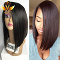 side part wigs brazilian hair natural human hair bob wigs full lace human hair wigs for black women silky straight upart wig 7a