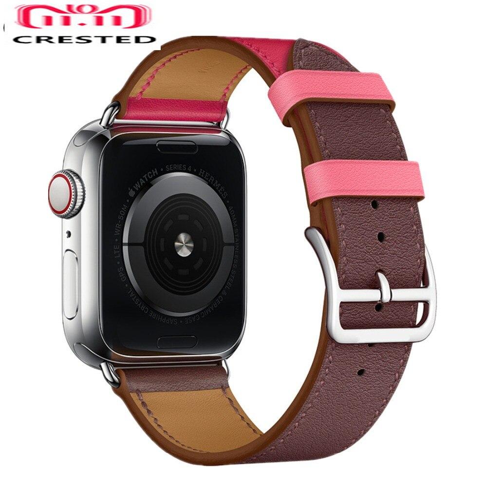 CRESTED einzelnen tour lederband Für Apple Uhr band 4 44mm 40mm armband iwatch serie 3/2 /1 42mm 38mm Handgelenk armband gürtel