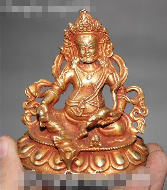 9CM Tibet Buddhism Bronze Gilt Yellow Jambhala Wealth God Mammon Buddha Statue9CM Tibet Buddhism Bronze Gilt Yellow Jambhala Wealth God Mammon Buddha Statue