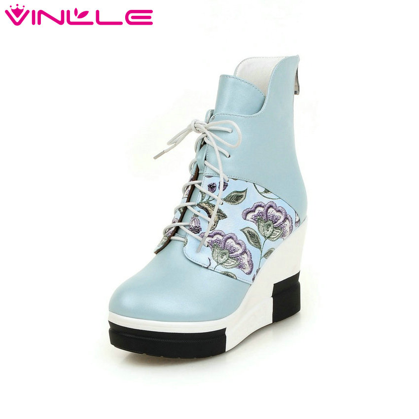 VINLLE 2016 Pink Wedge High Heel Ankle Boots Elegant Printing Leather Autumn Shoes Ladies Women Lace Up Fashion Boots Size 34-40 nayiduyun women genuine leather wedge high heel pumps platform creepers round toe slip on casual shoes boots wedge sneakers