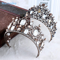 Mamojko Vintage Crystal Bride Hair Accessories Wedding Crown For Women Luxury Rhinestone Imitation Pearls Tiara Head