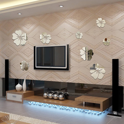 Permalink to Mirror three-dimensional wall stickers flower decoration mirror combination mirror wall  living room sticker 5 pieces in 1 set