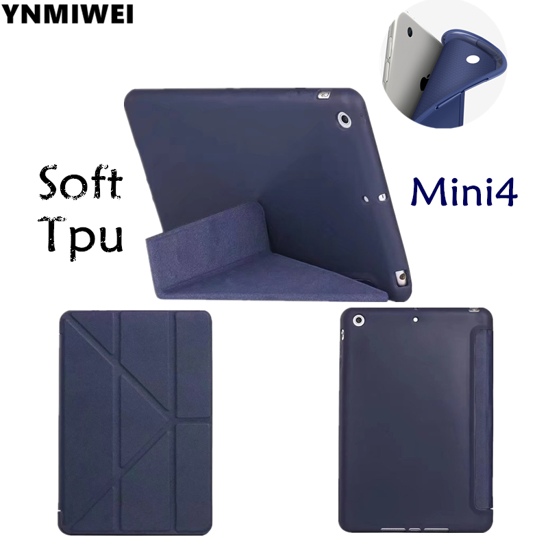 Soft Tablet Case For iPad Mini4 Smart Cover Case For iPad mini 4 7.9 inch Stand TPU Leather Protective Shell +protector print batman laptop sleeve 7 9 tablet case 7 soft shockproof tablet cover notebook bag for ipad mini 4 case tb 23156