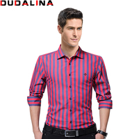 Dudalina Fashion Embroidery Striped Brand Clothing Mens Long Sleeve Shirt 2017 Slim Fit Shirt M 5XL