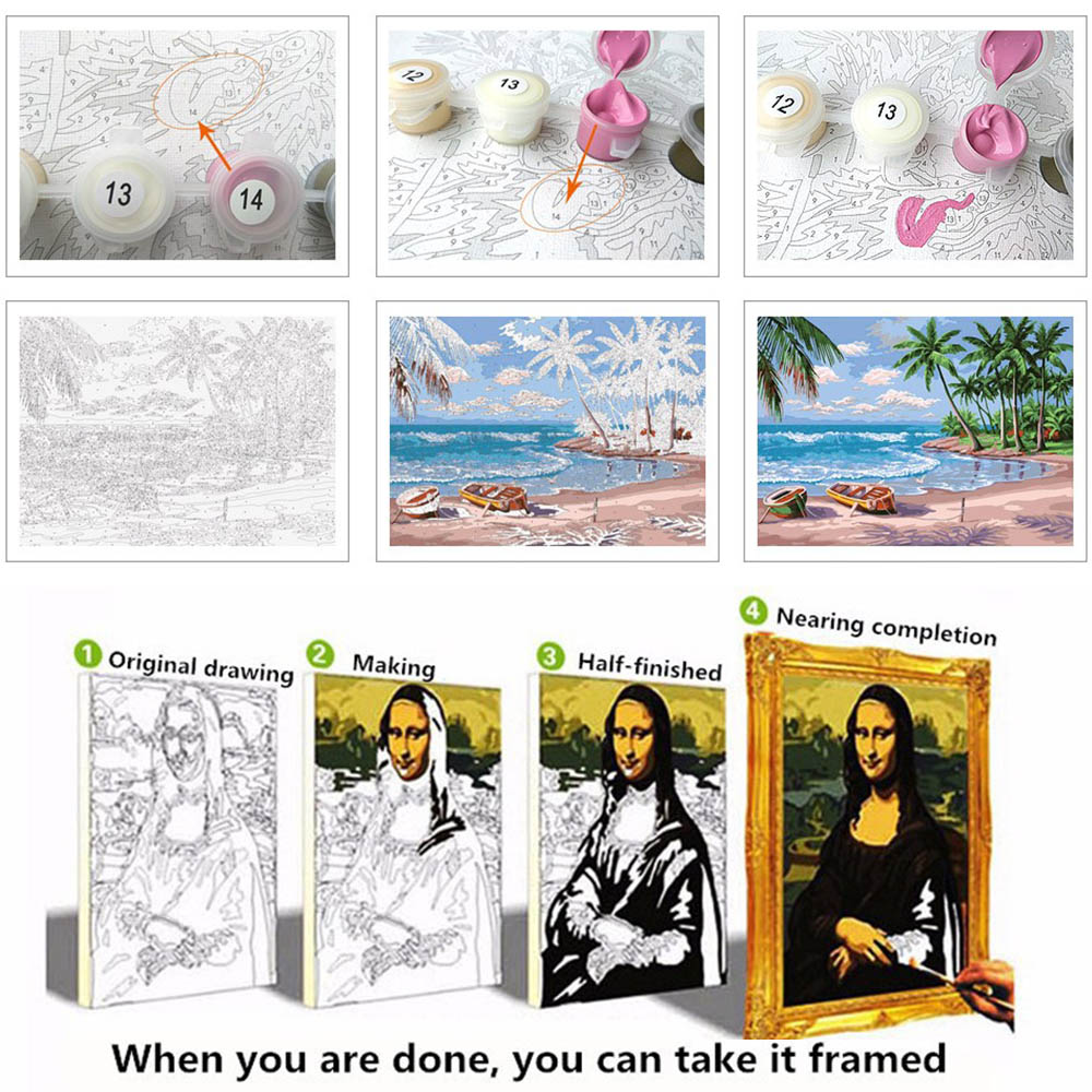 Animals DIY Painting By Numbers Kits Poster Pictures Paint Canvas ...