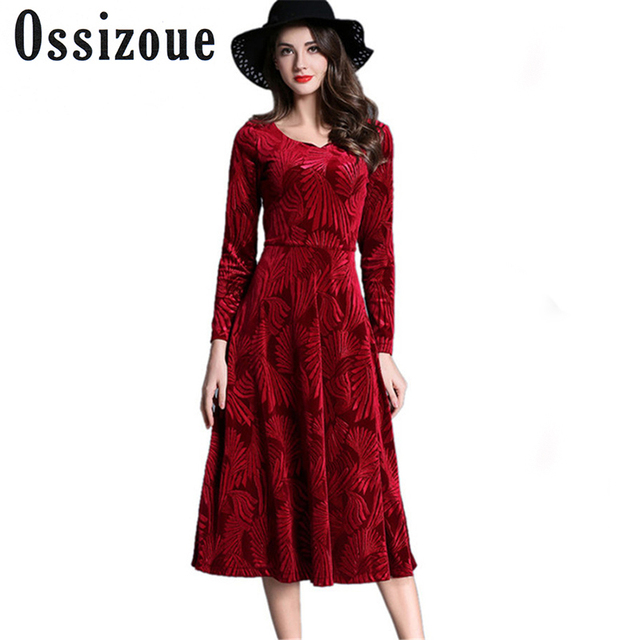 2018 Fashion European Autumn Winter Dresses Evening Party Red Velvet Dress  For Women Long Sleeve Vintage Sexy Dresses Vestidos 00bde0f6799a