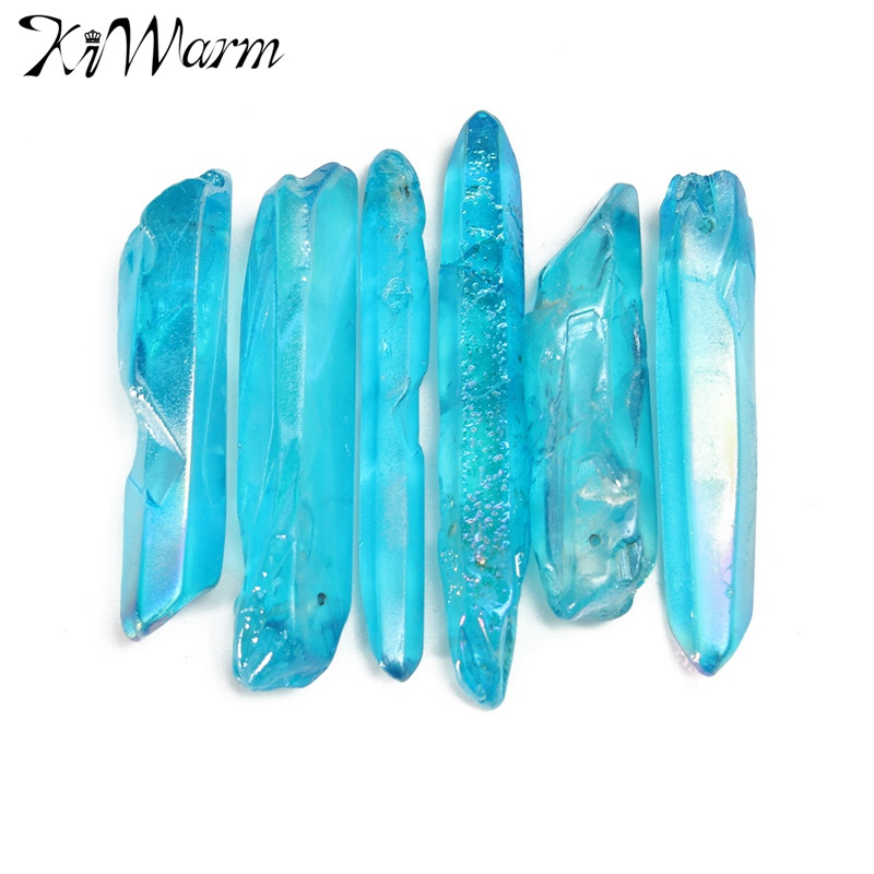 Kiwarm Beautiful 50g Blue Quartz Crystal Point Degaussing Healing Crystal Pendant DIY Crafts Making Ornaments Home Decor GiftsKiwarm Beautiful 50g Blue Quartz Crystal Point Degaussing Healing Crystal Pendant DIY Crafts Making Ornaments Home Decor Gifts