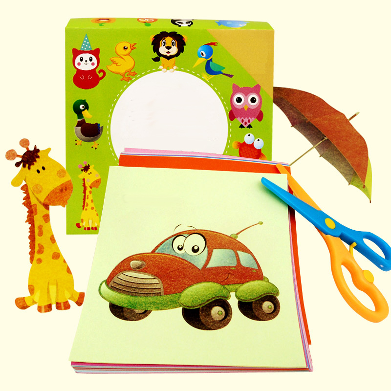 96PCS/Set DIY Cut Origami Paper Craft Art Birthday Sticker Kids Children Kindergarten Educational Crafts Toys For Children