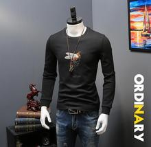 2017 New Arrival Real O-neck Casual Pullovers Animal Sudaderas Men Autumn Sweater Embroidery Men's With Velvet