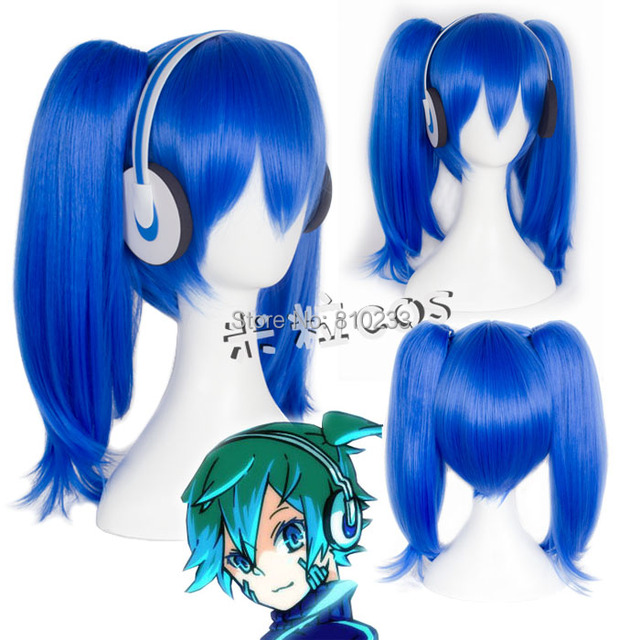 "SUNCOS Kagerou Project MekakuCity Actors Ene modern book cosplay wig ene  40cm 16"" blue anime hair free shipping +Cap"
