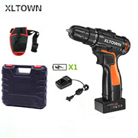 XLTOWN 25v electric screwdriver with a box rechargeable lithium battery cordless electric drill home power hand drill power tool