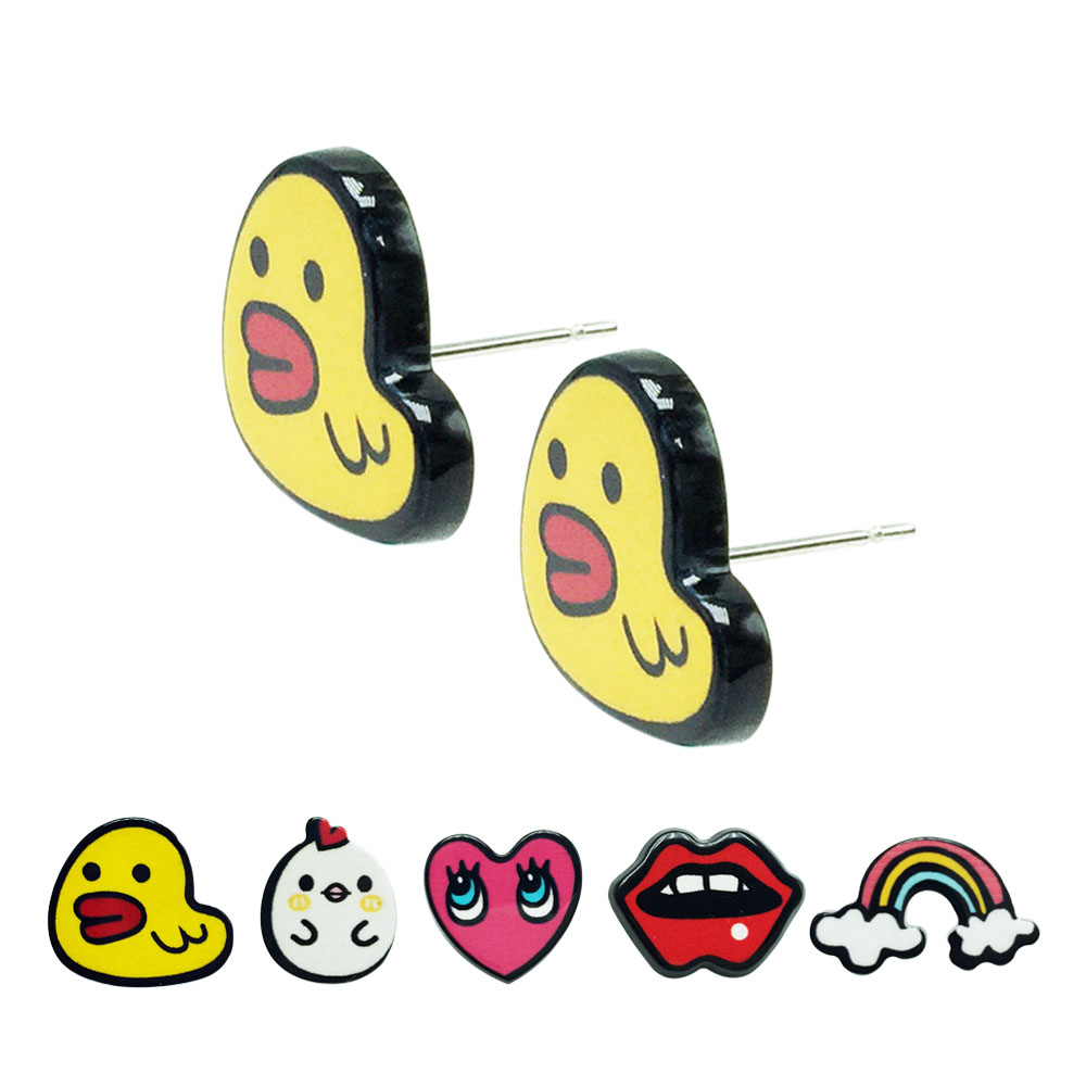 Lovely Cartoon Ear Studs Earrings Little Chick Duck Mouth Rainbow Heart  Acrylic Fashion Jewelry For Girls