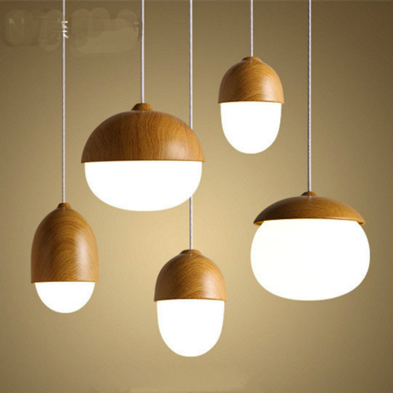 Modern Nordic Creative Iron Glass Nut Led Pendant Ligth For Dining Room Living Room Bar Deco A/B/C/D Styles Ac 80-265v 1144 modern nordic 7 colors carved aluminum wood geometric led e27 pendant light for dining room living room bar deco ac 80 265v 1143
