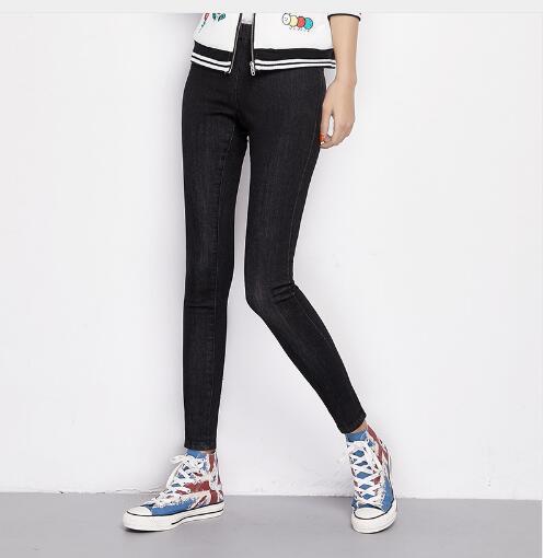 New Thick Jeans for women 2017 Autumn Winter cashmere Plus size skinny pencil black denim pant 6XL Elastic Waist Jeans Leggings