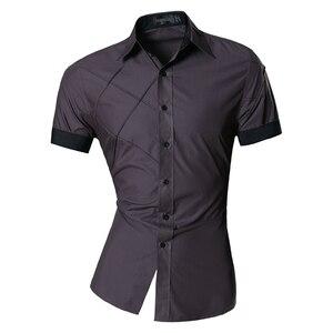 Image 4 - Мужская Летняя Модная приталенная рубашка с геометрическим орнаментом, разные цвета