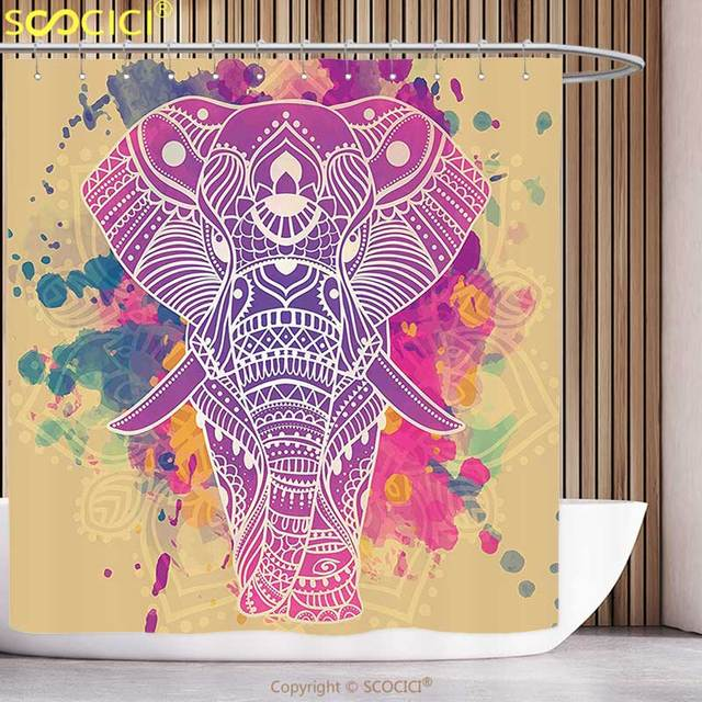 Fun Shower Curtain Indian Watercolor Style Effect Ethnic Theme An Ornamented Elephant Illustration Fuchsia And Sand