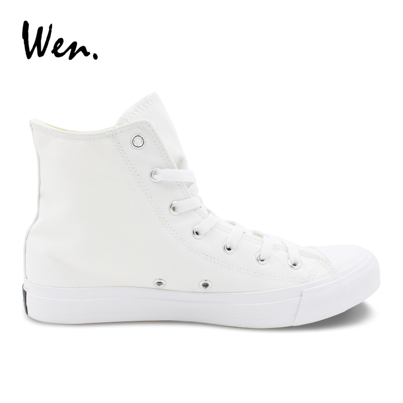 Wen Design White Hand Painted Skateboard Shoes Joker Poker High Top Unisex Canvas Shoes Flats Rubber Sneakers