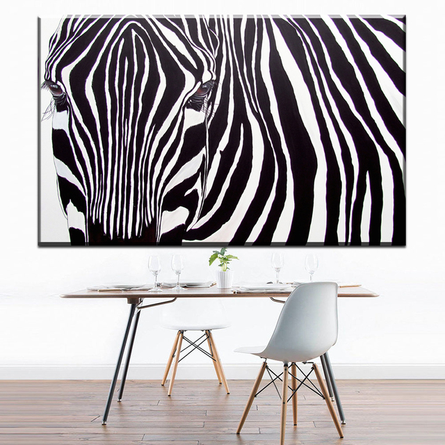 zz1668 einfache abstrakte leinwand kunst schwarz wei zebra kopf leinwand bilder l kunst. Black Bedroom Furniture Sets. Home Design Ideas