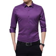 Brand New Silky Formal Shirt Men Classic Business Slim Fit Dress Shirt Long Sleeve Solid Color