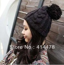 Free Shipping!2013 New Autumn Wholesale Braided Knitted Beanies Hats For Women/Men Winter Warm Fashion Hip-hop Caps With Pom