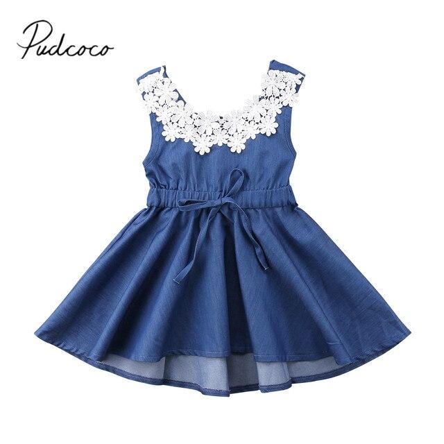 2018 מותג חדש לפעוטות ילד ילדים נסיכת בנות קיץ תחרה פרחונית ג 'ינס מפלגה השמלה חמוד שרוולים שמלה הקיצית 1-6 T