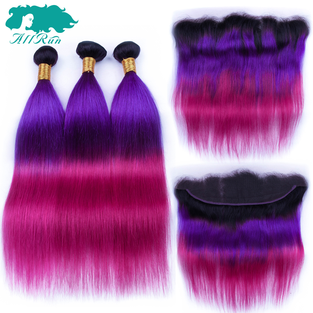 Allrun 3 Tone 1B/Purple/Rose Red Peruvian Straight Hair Ombre 3 Bundle With Frontal Human Hair Extensions Weave Non Remy
