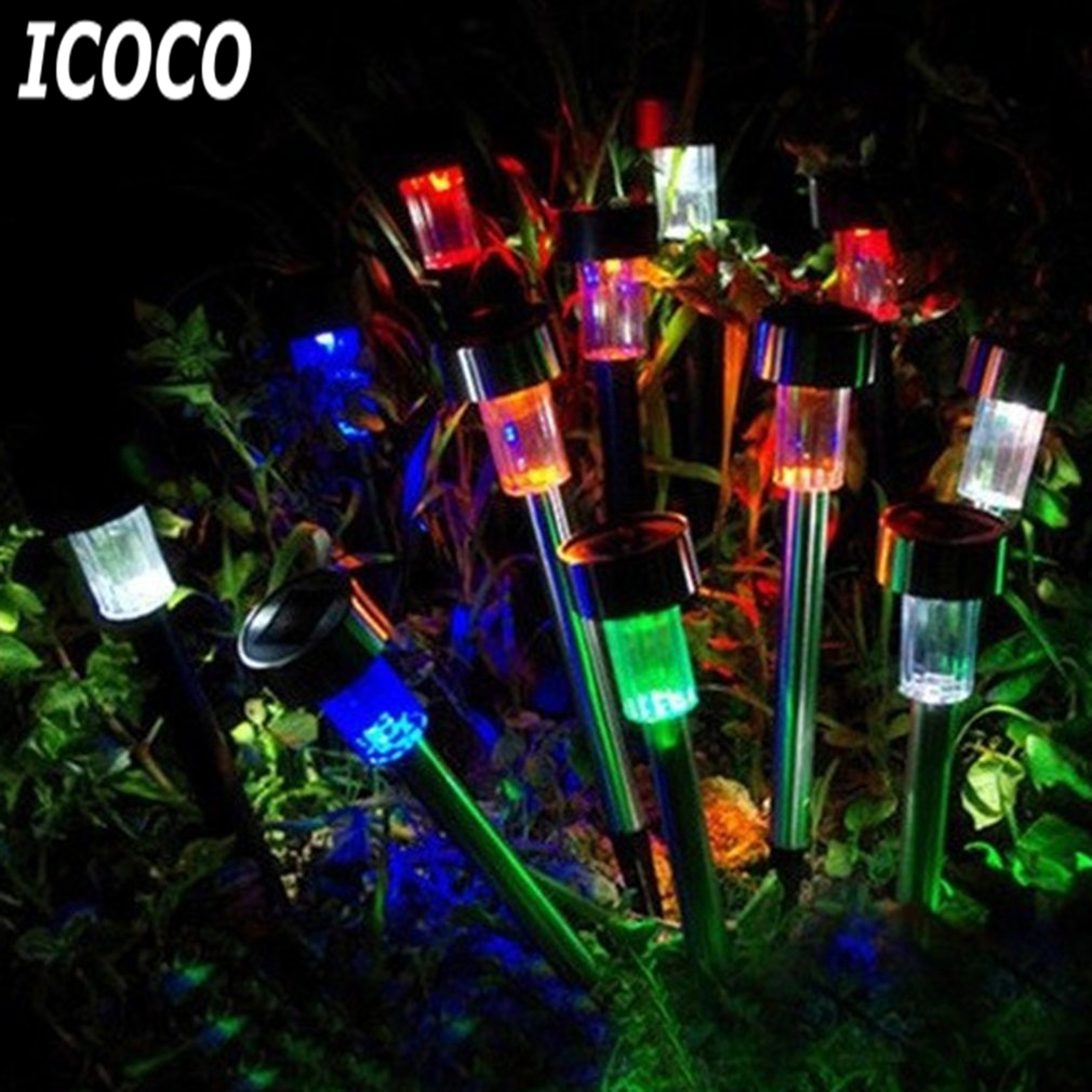 ICOCO Solar Powered Outdoor Waterproof LED Plug Lawn Lamp Landscape Light Path Lights Home Garden Decoration Lanterns