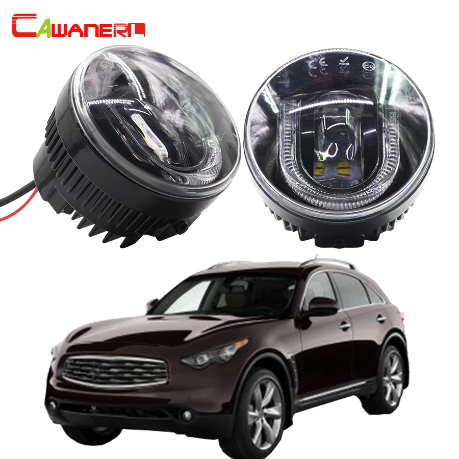 Cawanerl 1 Pair Car Styling LED Fog Light DRL Daytime Running Lamp High Power For Infiniti FX50 5.0L V8 2009-2012 cawanerl 1 pair 100w h3 car led bulb 20 smd 2200lm white 6000k automotive fog light daytime running lamp headlight low beam drl