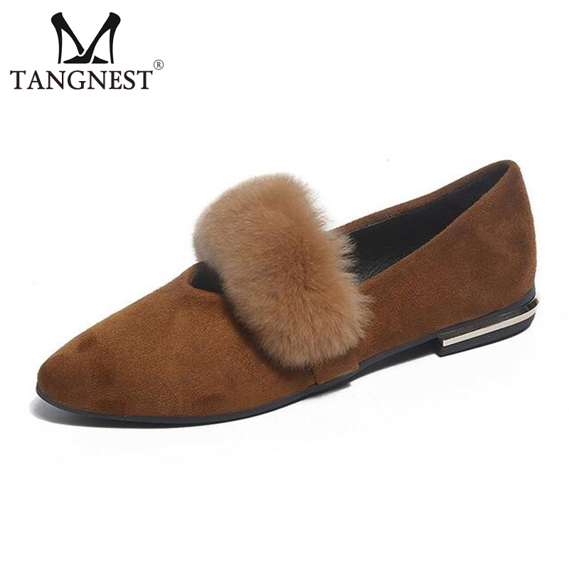 Tangnest NEW 2018 Autumn Ballet Flats Women Fashion Pointed Toe Slip-on Flats Soft Faux Fur Shoes Flock Leather Loafers XWD6103 2017 new fashion women summer flats pointed toe pink ladies slip on sandals ballet flats retro shoes leather high quality