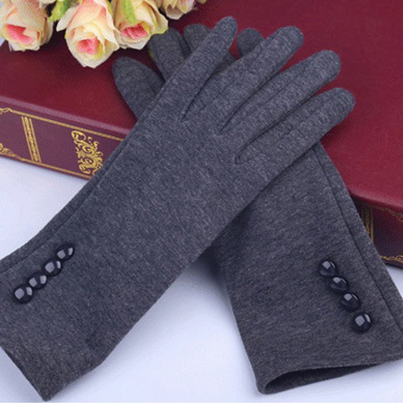 Autumn Winter Glove For Women Warm Wrist Mittens Touch Screen Gloves With Four Buttons Soft Cotton Black Gray Gloves For Ladies