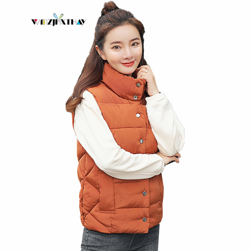 Fashion Winter Loose Cotton Jacket 2019 New Women Casual Waistcoat Slim Coat Solid Color Warm Padded Female Vest Outerwear DF10